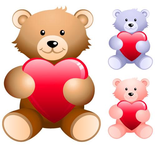 Ours en peluche statuant en forme de cœur vecteur matériel