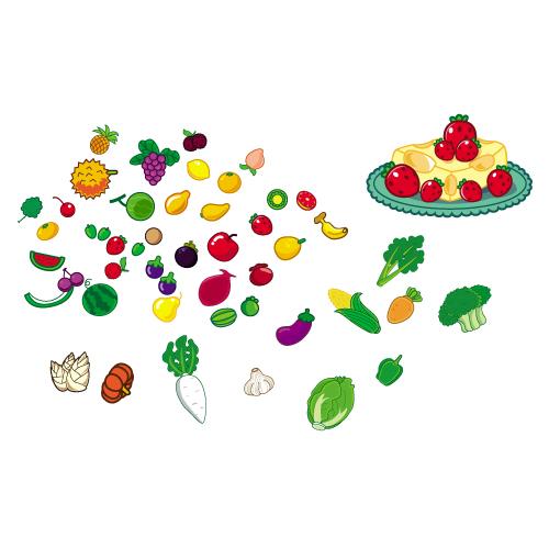 Милые фрукты и овощи векторный материал