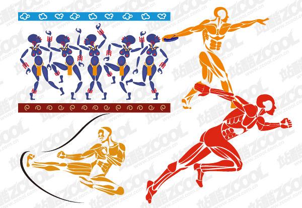 4 figuras deportivas de vectores de material