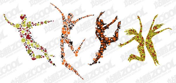 4 fleurs, composées de gens sautant vecteur matériel