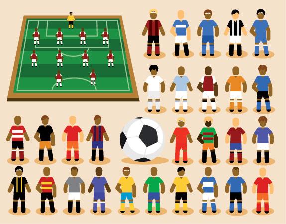 Dibujos animados de fútbol Vector de material