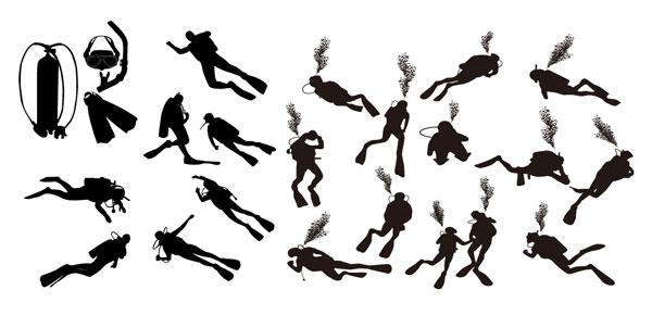 นักกระโดดน้ำรูปเงาดำเวกเตอร์วัสดุ