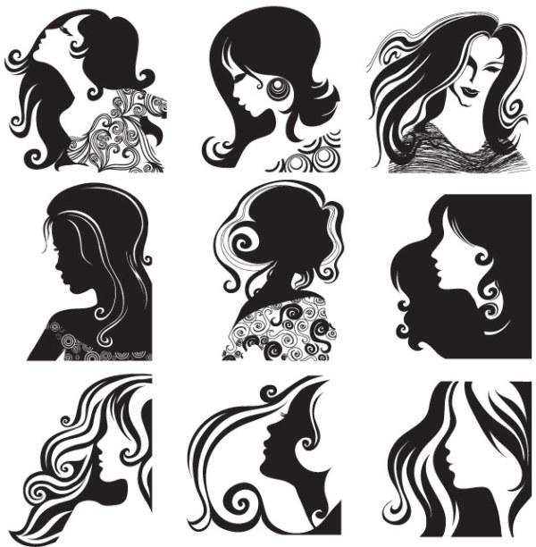 Weibliche Kopf Muster-Vektor-material