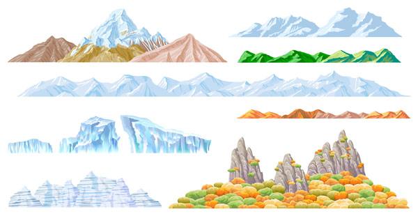 Hermosas montañas de vectores de material