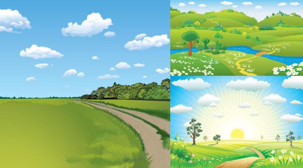 3 природные пейзажи векторного материала