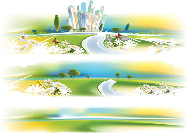 Цветы в высотных зданий дорога векторного материала
