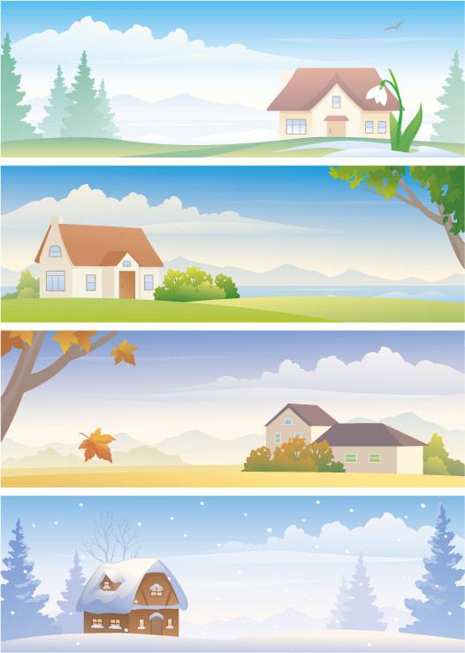 Material de vector de cuatro temporadas paisaje