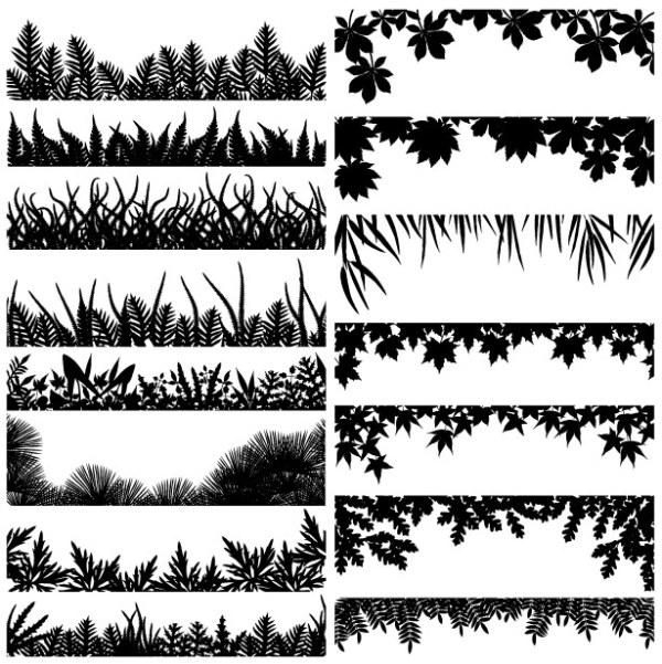 Material de varios vectores de silueta de hoja