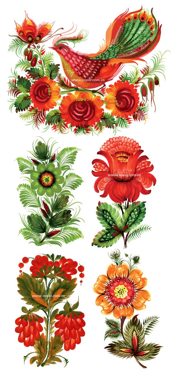 ทาสีมือลักษณะลายดอกไม้ตกแต่งเวกเตอร์วัสดุ