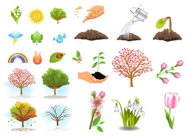 พืชต้นไม้เวกเตอร์วัสดุ