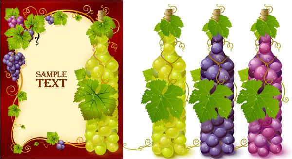 ブドウのベクトル材料で埋めボトル
