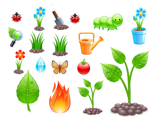 การปลูกพืชชุดรูปแบบเวกเตอร์วัสดุ