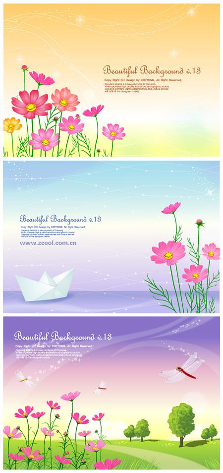 3 cute little daisy y antecedentes desde el vector de material