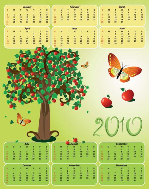 Tema de mariposa del material de árbol de 2010 calendario plantilla vector