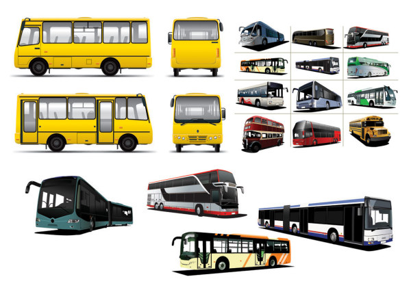 さまざまなバス バスのベクター素材