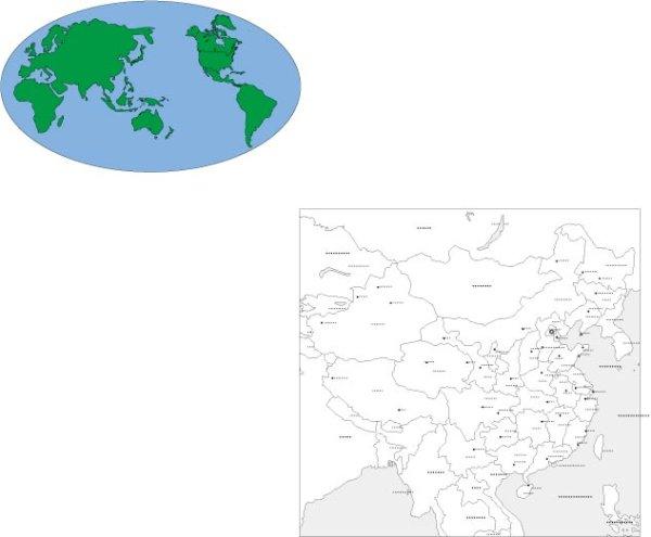 Mundo material y el mapa del vector de China