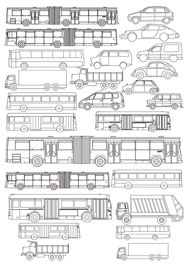 線の描画車バス ベクター素材の種類