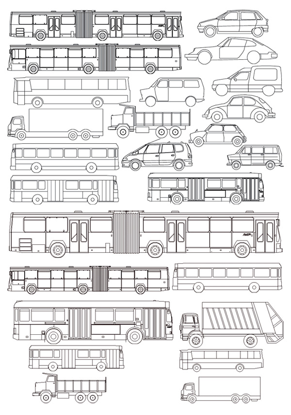 Clases de dibujo de líneas coche bus vector material