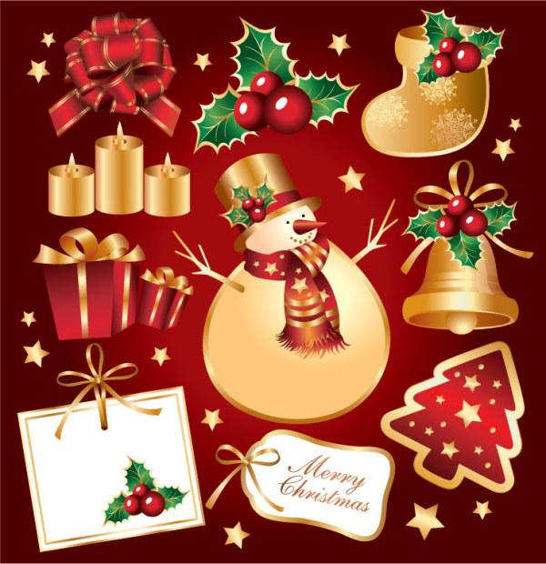 Aureate рождественские элемента вектора материала
