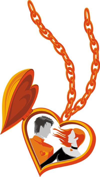 Vetor de colar em forma de coração amantes de material