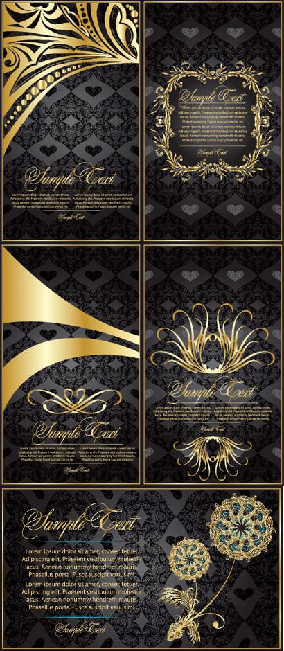 Material de vectores de patrón oro encaje