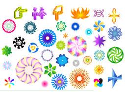 Material de vectores de patrón rotatorio colorido