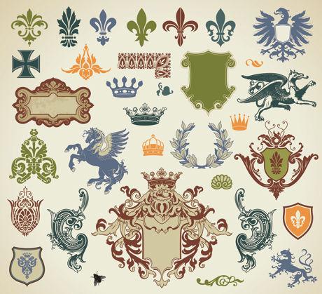 Material de vectores de patrón de encajes europeos