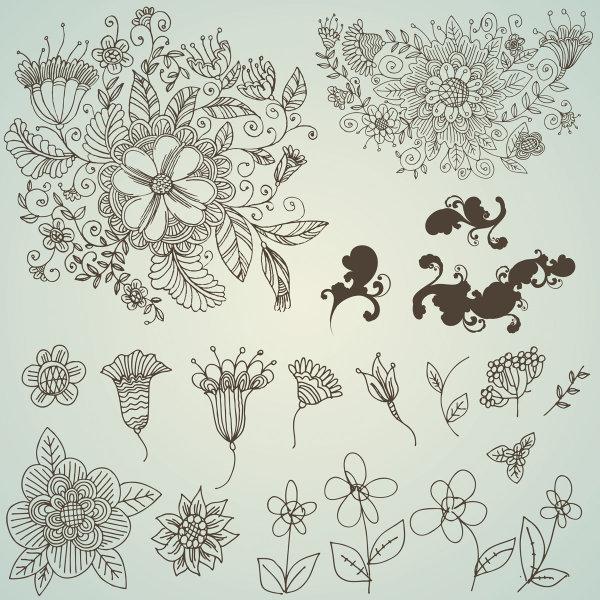 라인 드로잉 꽃 패턴 벡터 자료의