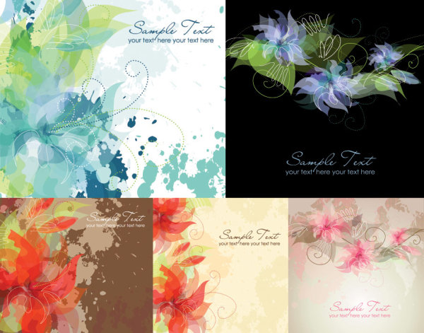 5 夢のようなインク花ベクトル材料