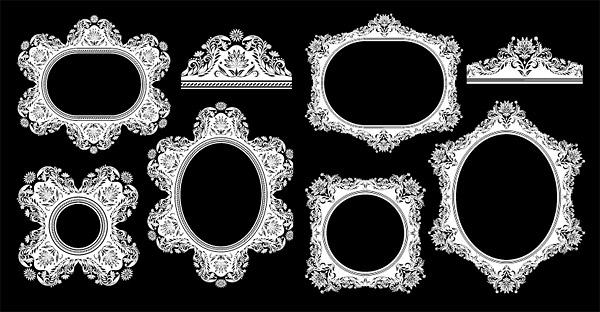 Vector de marco europeo clásico patrón decorativo de material