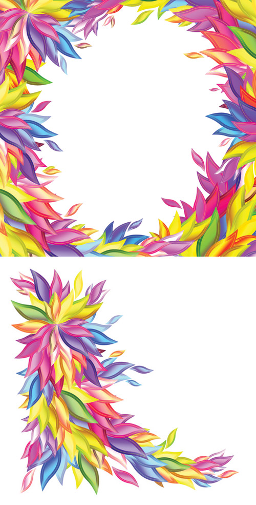 벡터 도형 다채로운 버드 나무