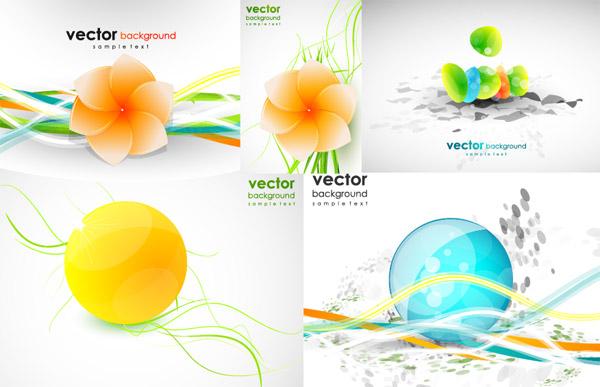 Forma de línea dinámica de material de vectores de flores