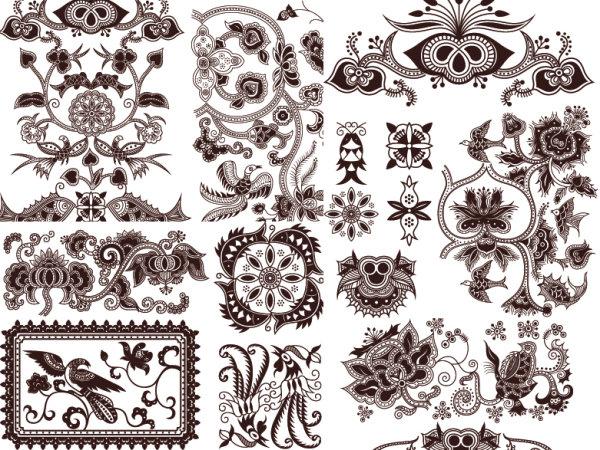 Material de vector de exquisita patrón tradicional clásico