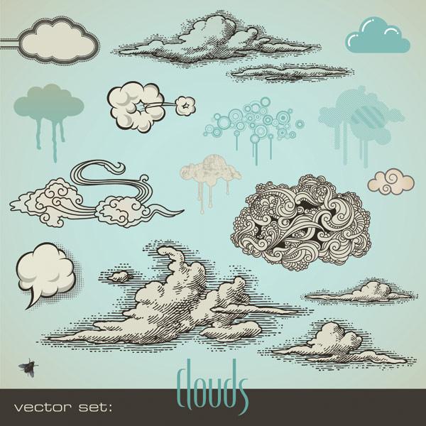 GangBiHua стиль облако вектор материала