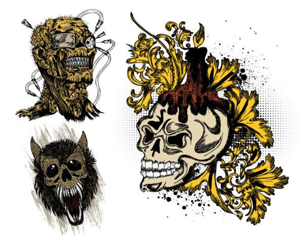 Прилив скелет t рубашки печати дизайн - векторный материал