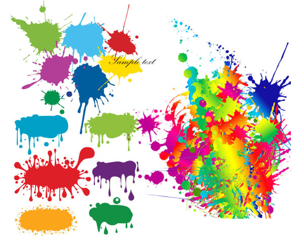 Gotas de tinta de color graffiti vector material
