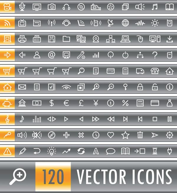 120 벡터 아이콘 실용적인 단순