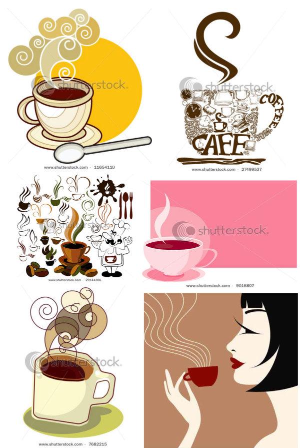 Material de ícone e plano de fundo do vetor café