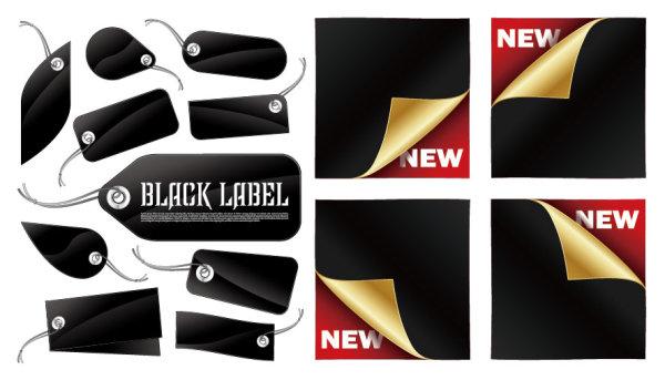 Marcas pretas e adesivos de vetor material