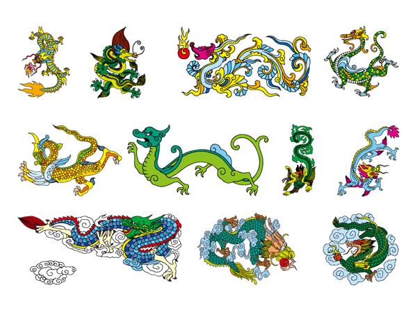 Material de vector de dragón chino clásico nueve