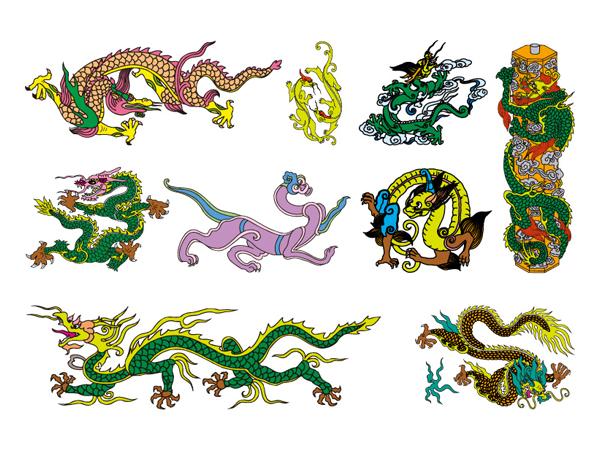 Китайская классическая Дракон семь векторного материала