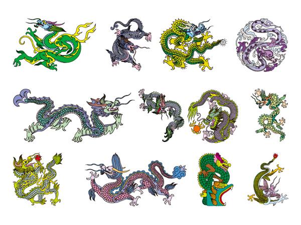Китайская классическая Дракон вектор материал из 8