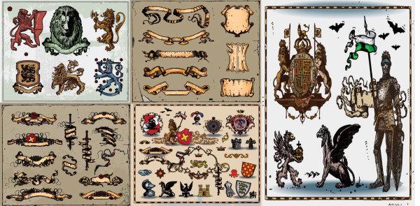 Escudo antiguo material de vectores