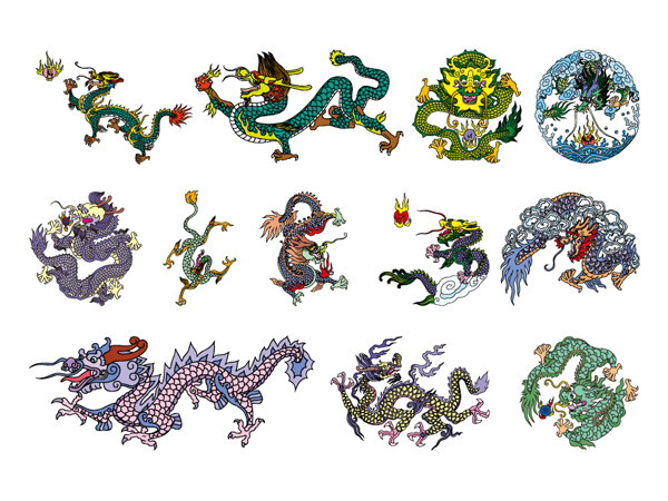 China clásica Dragon seis vector de material