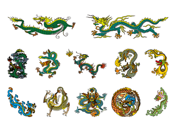 Material chino clásico Dragon Vector de 4