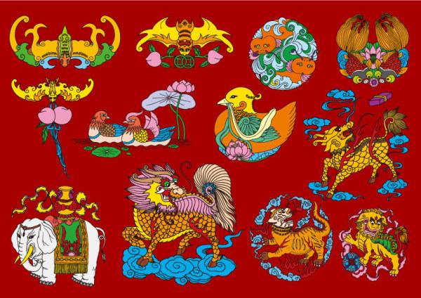 12 Folk chinois bon augure patrons vecteur