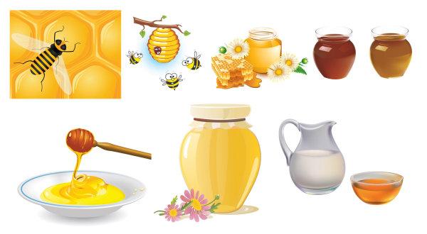 รวบรวมน้ำผึ้ง bees เวกเตอร์ของวัสดุ