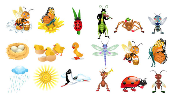 แมลงเวกเตอร์การ์ตูนน่ารัก