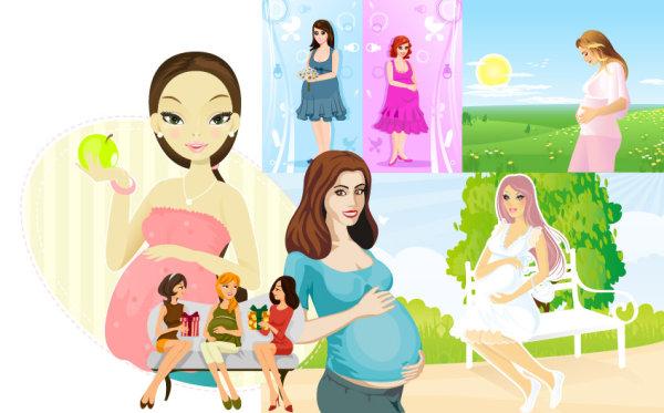 7 สตรีตั้งครรภ์ เวกเตอร์