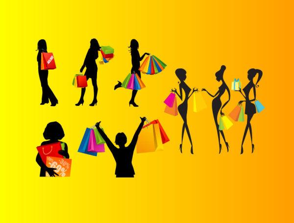 ショッピング女性のベクトル シルエット